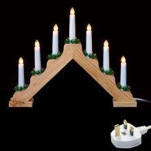 Premier Christmas Decoration 'V' Shaped Wooden Mains LED 7 Light Candlebridge