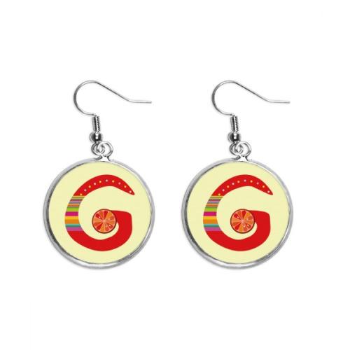 G Alphabet Orange Fruit Cute Pattern Ear Dangle Silver Drop Earring Jewelry Woman
