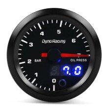 """2"""" 52mm Digital Pointer 7 Color LED 0-7 Bar Car Oil Pressure Gauge Meter Sensor Smoke Tint Face for 4/6/8 Cylinder Engine 12V Gasoline Cars Vehicles"""