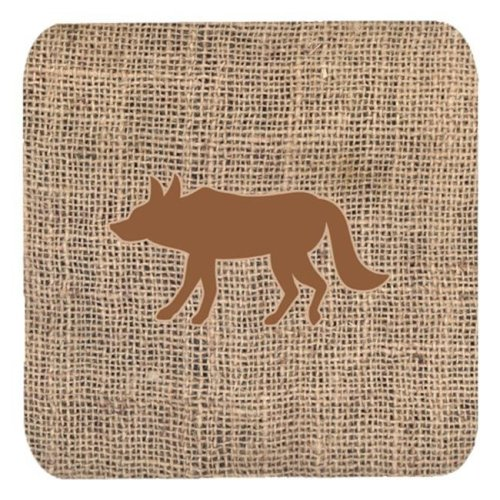 Wolf Burlap and Brown Foam Coasters, Set - 4