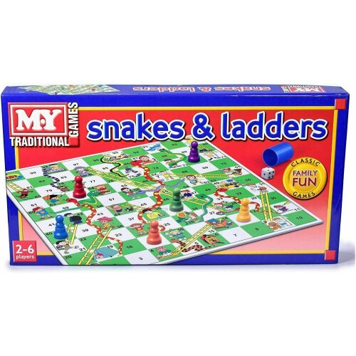 Kids Snakes and Ladders Board Game Traditional Children Games Play Set