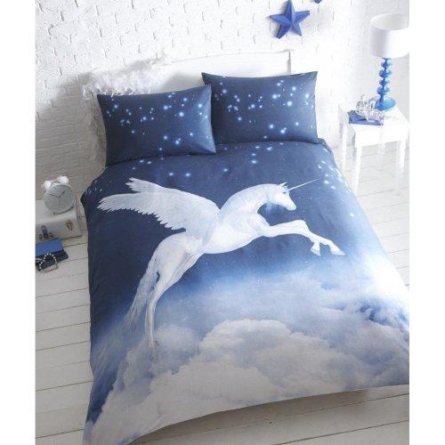 Flying Unicorn Duvet Cover & Pillowcase Set Blue