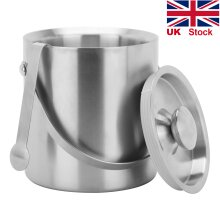 Double Walled Stainless Steel Insulated Ice Bucket with Tongs & Lid 2L