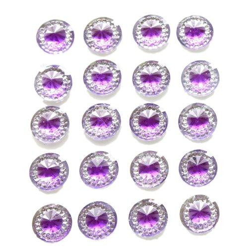 40 x Self Adhesive Purple Round Diamante Rhinestones Acrylic Crystals Stick on Gems Card Making Embellishments For Crafts