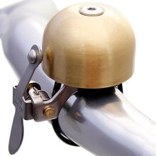 Crane Bike Bell E-Ne Bicycle Bell, Made in Japan for Road Bikes or Mountain Bikes, Fits All Handle Bar Sizes & Types (Scotch Brite Brass)