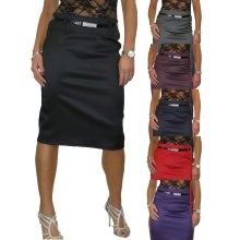 Women's Stretch Satin Pencil Skirt Bodycon Party With Belt 8-22