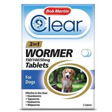 Bob Martin Clear 3-in-1 Wormer Tablets for Dogs Up To 20kg - 2 Tablets
