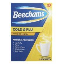 Beechams Cold & Flu Lemon Honey - 5 Sachets