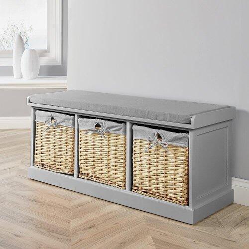 Grey Wooden Hallway Shoe Storage Bench Chest Wicker Basket Cushion Padded Seat