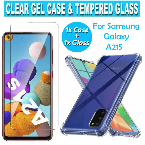 For Samsung Galaxy A21s Case & Tempered Glass Screen Protector Back Soft TPU Bumper Gel Cover