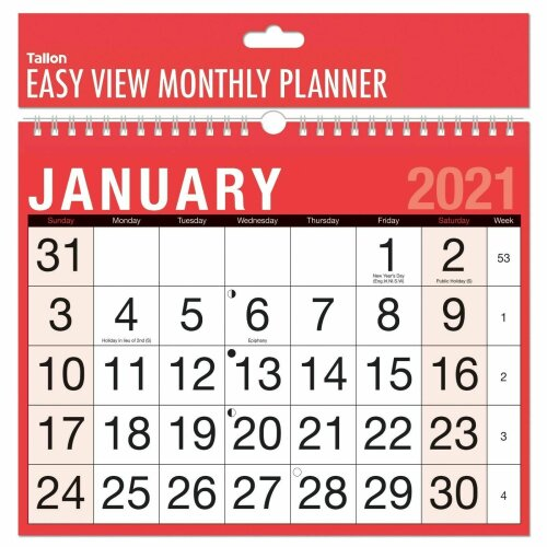 2021 Month to View Wall Planner Calendar Easy Home Office Student College Spiral Bound MTV Easy