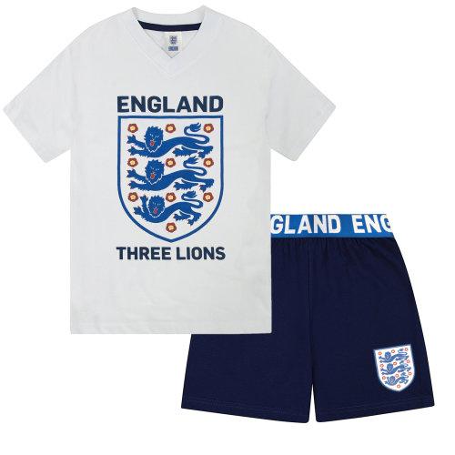 (10-11 Years) England Three Lions Official Football Gift Boys Short Pyjamas