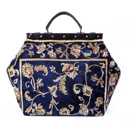 SAC-VOYAGE Pergola Navy - large Mary Poppins Victorian CARPET BAG
