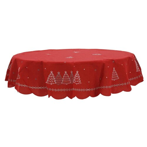 """Christmas Trees Tablecloth Red Fabric Luxury White Embroidery Round 70"""""""