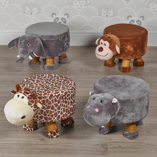 Animal Footstools | Wooden Soft Pouffe Footrests