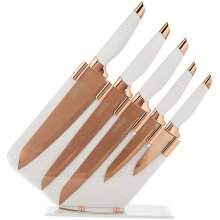 Tower T81532RW Damascus Effect Kitchen Knife Set with Stainless Steel Blades and Acrylic Stand, Rose Gold/White, 5 Piece