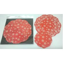 Pack Of 30 Festive Paper Doilies - Red Snowflake