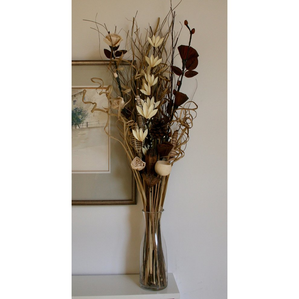 Bright Gold Dried /& Artificial Flower Bouquet 90 cm Tall Ready For A Vase