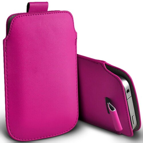 Samsung Galaxy S20 5G Hot Pink Pull Tab Sleeve Faux Leather Pouch Case Cover (XXXXL)
