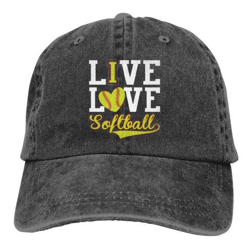 LIve Love Softball Denim Baseball Caps