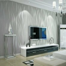 Modern 3D Crescent Wave Stripes Embossed Non-woven Wallpaper10*0.53m