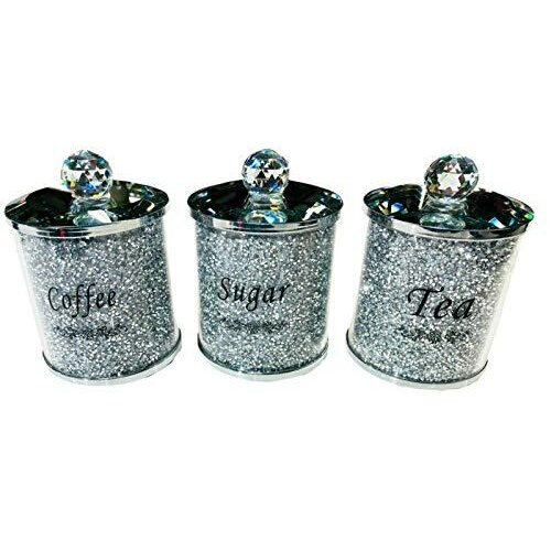 Diamond Crushed Tea Coffee Sugar Canisters Jars Kitchen Storage Silver Trimmings Crystal Filled Black Writing