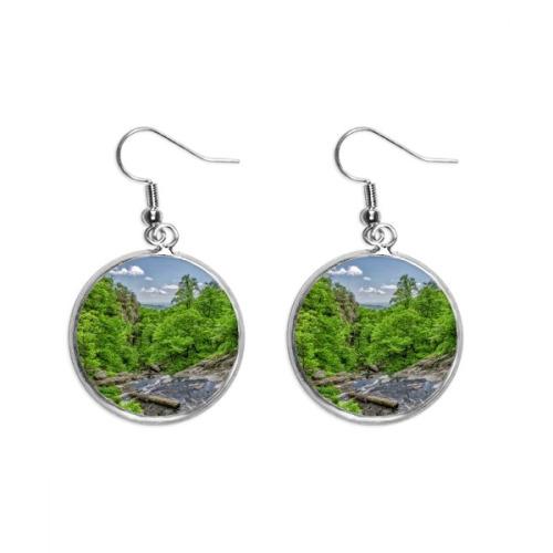 Stream Green Forestry Science Nature Scenery Ear Dangle Silver Drop Earring Jewelry Woman