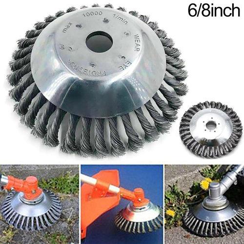 6/8 Inch Trimmer Head Grass Strimmer Steel Wire Wheel Mower Weed Brush Cutter