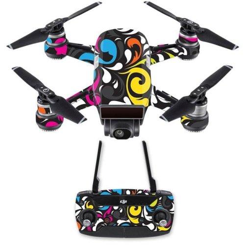 MightySkins DJSPCMB-Swirly Skin Decal Wrap for DJI Spark Mini Drone Combo Sticker - Swirly