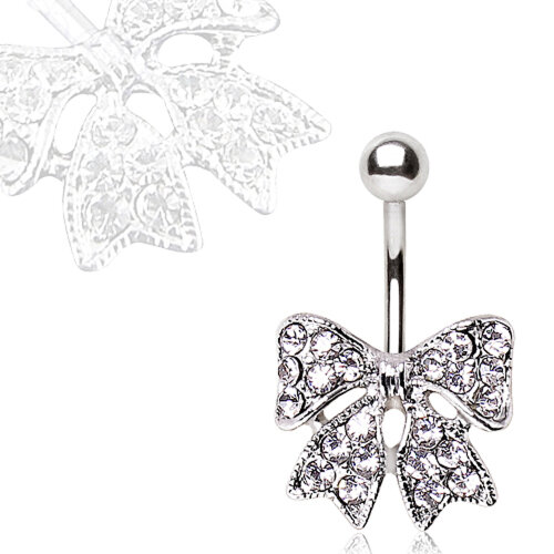 Multi Clear Crystal and Faux Pearl Elaberate Bow Non Dangle Belly Bar Navel Ring - Surgical Steel - 1.6mm x 10mm