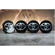 Set of 4 Black Toyota alloy wheel caps 61mm