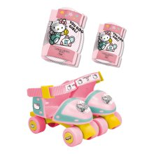 HELLO KITTY Hello Kitty Club Children's Adjustable Quad Roller Skates with Elbow and Knee Protection Set