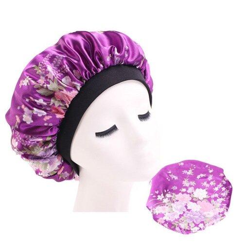 (Purple) Lady Hair Care Bonnet Sleeping Hat Head Cover Wrap