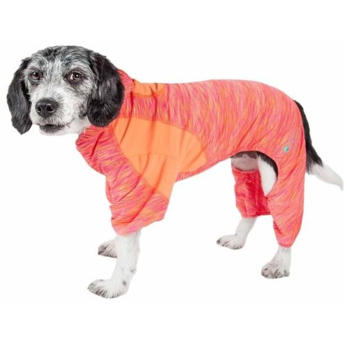 Pet Life YGHL1ORLG Active Downward Dog Heathered Performance 4-Way Stretch Two-Toned Full Body Warm Up Hoodie, Orange - Large