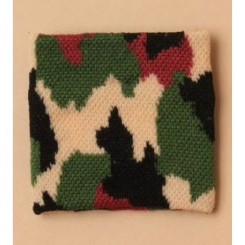 Boys Mens Green Brown Camouflage Army Wristband Sweatband
