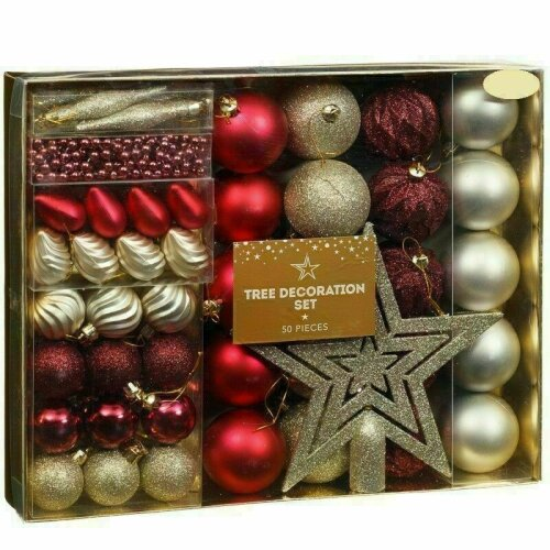 Red Gold 50Pc Antique Style Christmas Xmas Tree Baubles Glitter Decor