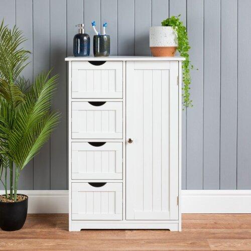 Bathroom 4 Drawer Cabinet White Wooden Storage Cupboard Standing Unit Christow