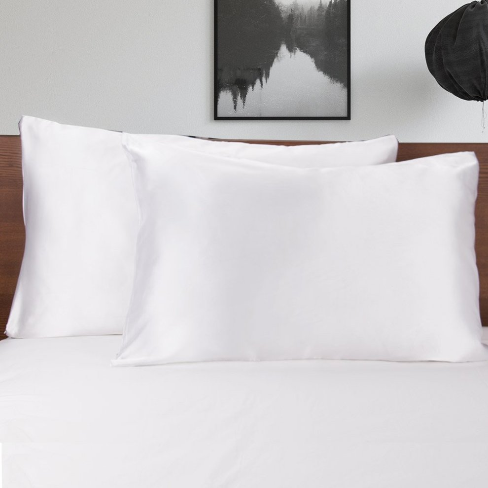 Mommesilk White Satin Silk Pillowcase