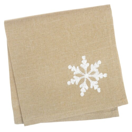 "Pack Of 4 Square Fabric Table Napkins Material Serviette For Christmas 16x16"" - Let It Snow Biscuit"