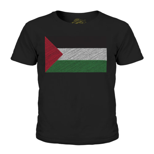(Black, 9-10 Years) Candymix - Palestine Scribble Flag - Unisex Kid's T-Shirt