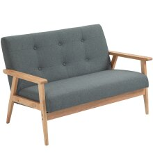HOMCOM Modern Linen Fabric Upholstery Seat Sofa Tufted 2/3-Seat Couch Wood Legs