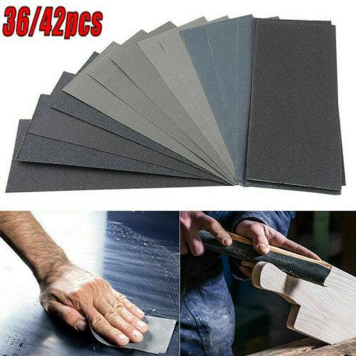 """9x3.7"""" Assorted Sanding Wet Dry Waterproof Sandpaper Mixed Sander Paper Sanding 36/42pcs"""