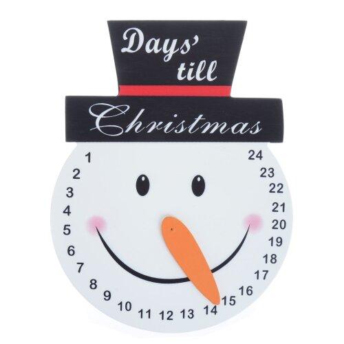 Wooden Snowman Head Countdown Christmas Advent Calendar Orange Carrot Nose Pointer Slogan Hanging