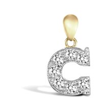 Jewelco London Solid 9ct Yellow and White Gold White Round Brilliant Cubic Zirconia Pave Identity Initial Charm Pendant Letter C