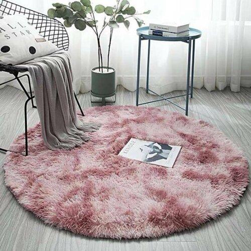 (Pink, Medium) Fluffy Circular Rug | Circular Polyester Bathmat