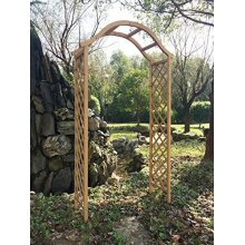 Marko Gardening Garden Arch Wooden Pergola Feature Trellis Rose Archway Natural Tan Wood Timber