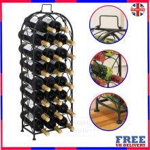 Free Floor Standing 23 Bottles Tall Wine Rack Storage Arched Design Black Finish Champagne Rack Wine Rack