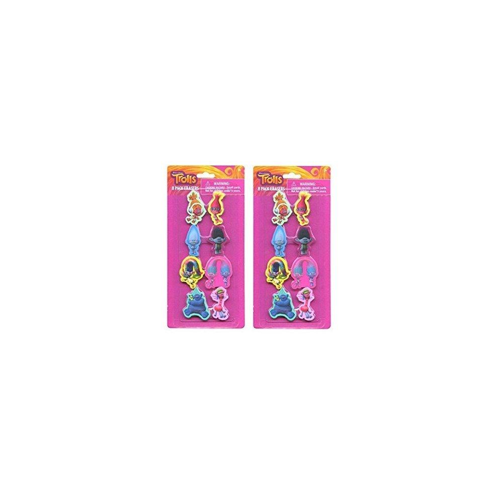 Party Favors Dreamworks Trolls 8pk Shaped Eraser on Card-2 Pack