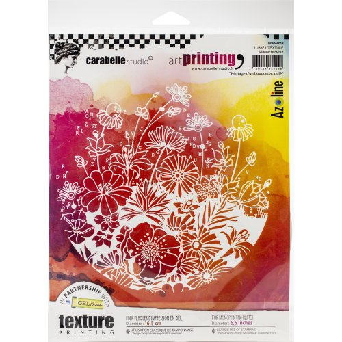 Carabelle Studio Art Printing Round Rubber Texture Plate-Heritage Of Tangy Flowers