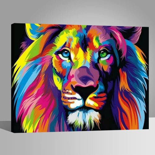 Paint by Numbers Kits with Brushes and Acrylic Pigment DIY Canvas Painting for Adults Beginner- Colorful Lion 16 x 20 inch(Without Frame)